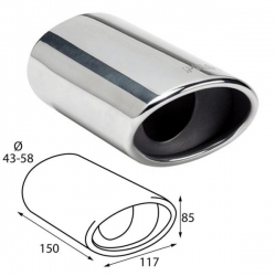 Uitlaatsierstuk RVS Ovaal passend 43-58mmmm