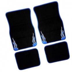 Automatten 4 delig zwart blauw
