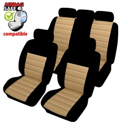Autostoelhoes zwart beige met zijairbag