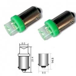 Led lamp BA9S Groene LED T4W 12V metalen voet met 1 LED