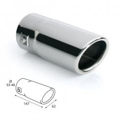 Uitlaat sierstuk RVS Ovaal Passend 33-46mm