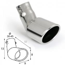 Uitlaatsierstuk RVS afgerond ovaal passend  30-45mm