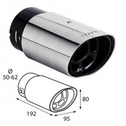 Uitlaatsierstuk RVS met sportieve sound passend 50-62mm