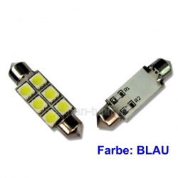 LED festoon buislamp 36mm C5W  6 SMD led blauw