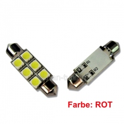 LED festoon buislamp 36mm C5W 6SMD rood