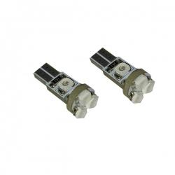 T5 LED 12V W2,3W met 5 SMD Rood