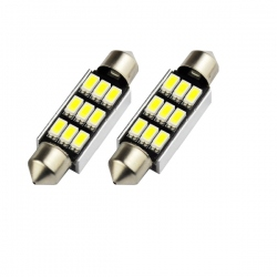 LED festoon buislamp 42mm C5W Canbus  9 SMD wit