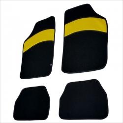 Automatten 4 stuks zwart met gele leer