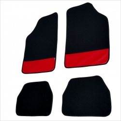 Automatten 4 stuks zwart met Rood leer