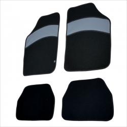 Automatten 4 stuks zwart met Grijs leer