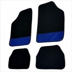 Automatten 4 delig zwart met Blauw leer