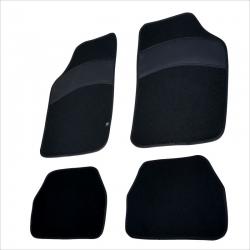 Automatten 4 stuks zwart met zwart leer