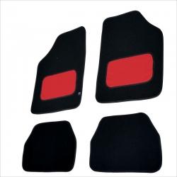 Automatten 4 delig zwart met Rood leer