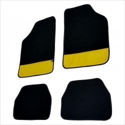Automatten 4 delig zwart met gele leer