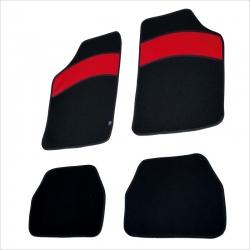 Automatten set zwart met Rood leer