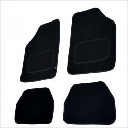 Automatten set 4 delig  zwart met zwart leer