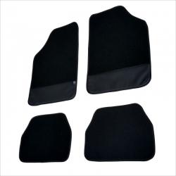 Automatten set zwart textiel met zwart leer