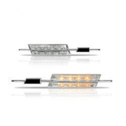 Chromen Led zijknipperlichten wit glas BMW  E81/ E82/ E87/ E88
